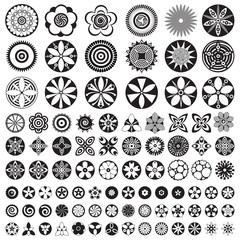 Large Set of flat icon flowers. Black and white, Isolated floral elements. Create your own design composition. Floral icons, logo, stickers, labels, tags.