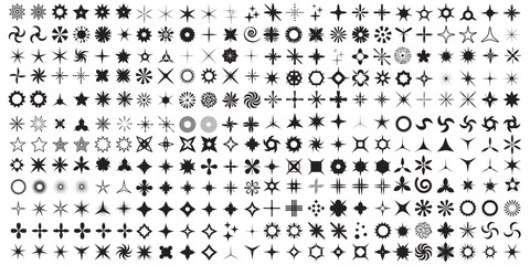 Super Set of vector sparkles icon set. Glowing light effect stars and bursts collection. Bright firework, decoration twinkle, shiny lens or camera flash. Almost three hundred handmade elements.