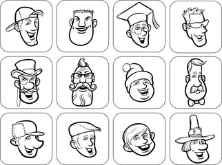 diverse men faces outline vector illustration