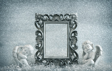 Picture frame with guardian angel. Vintage style decoration