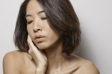Natural beauty style studio portrait asian female model