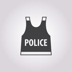 police flak jacket icon on white background