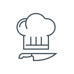 Kitchen, cook hat, cook knife icon