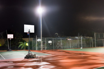 Empty basketball court at night, Trinidad, Trinidad And Tobago