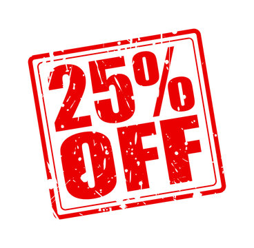 25% OFF red stamp text