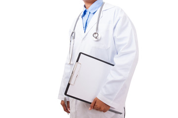 Doctor with a stethoscope and holding a clipboard.