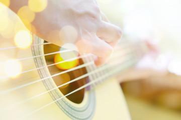 Multiple exposure of guitar player and Bokeh