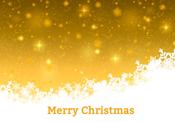 Golden Xmas background. Abstract winter design with lights, stars and snowflakes.Christmas gold card.