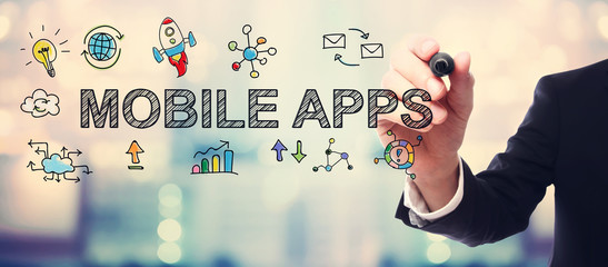 Businessman drawing Mobile Apps concept