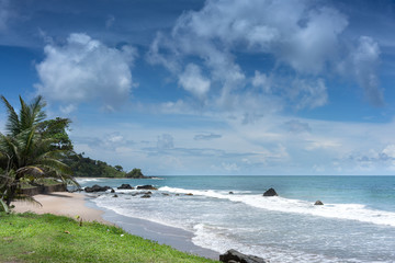 Scenic view of a beach against cloudy sky, Trinidad And Tobago