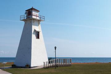 Lighthouse at coast, PEI Marine/Rail Museum, Port Borden Rail station Park, Borden, Prince Edward Island, Canada