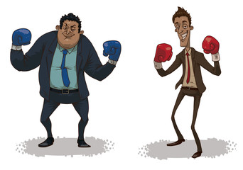 Vector cartoon image of two business fighters: one in a blue suit, blue boxing gloves, the other in a brown suit, red boxing gloves on a light background.