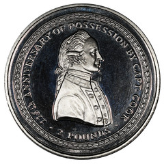 Coin South Georgia and South Sandwich Islands, 2 pounds. The coin depicts Captain James Cook