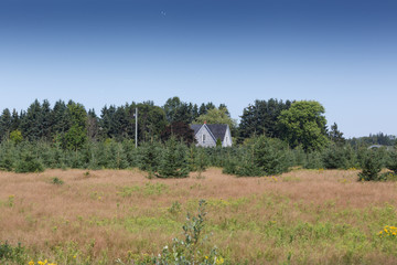 View of farmhouse in forest against sky, Prince Edward Island, Canada