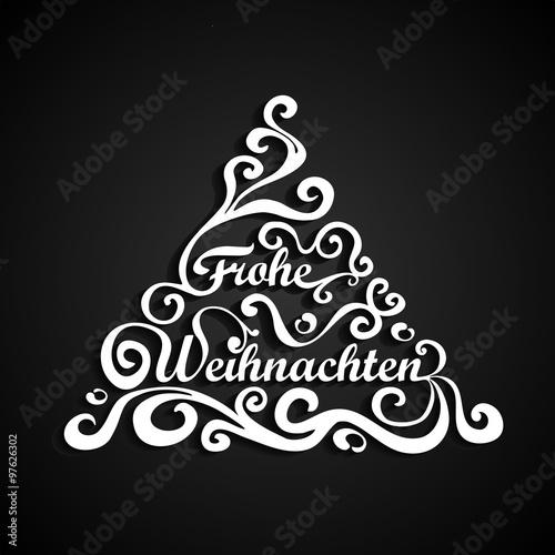 Buchstaben Frohe Weihnachten.Weihnachtsbaumgrafik Mit Geschwungenen Buchstaben Frohe Weihnachten
