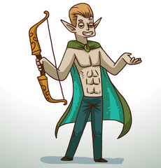 Vector cartoon image of a handsome man with blond hair with pointed ears in blue jeans and a turquoise-green cloak with a yellow bow in his hand on a light background.