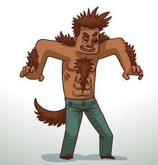 Vector cartoon image of a handsome man with brown hair on the head, arms, chest, shoulders, wearing blue jeans with a brown tail on a light background.