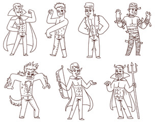 Vector Men in Halloween costumes set, line art. Line cartoon image of seven different men in various costumes for Halloween on a white background.  In the theme of Halloween.