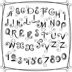 Декоративные латинские буквы и цифры из завитков