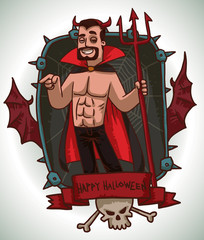 Vector card with a black rectangular frame with iron spikes, web, red bat wings, a red banner and a white skull and crossbones, with cartoon image of a man in Devil costume on a light background.