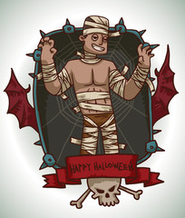 Vector card with a black rectangular frame with iron spikes, web, red bat wings, a red banner and a white skull and crossbones, with cartoon image of a man in Mummy costume on a light background.