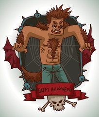 Vector card with a black rectangular frame with iron spikes, web, red bat wings, a red banner and a white skull and crossbones, with cartoon image of a man in Werewolf costume on a light background.