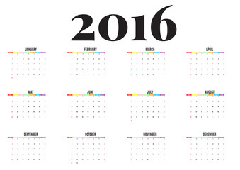 calendar 2016 new year on white background, Week start Sunday, happy color, vector illustration