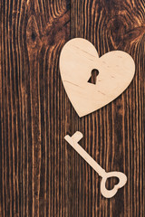 Wooden key to heart