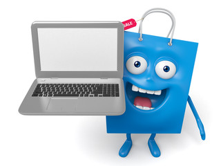 A blue shopping bag with a notebook