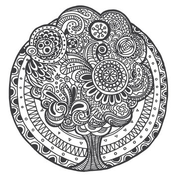 Vector  Ethnic retro floral doodle round black and white pattern with a tree in the center on a white background.