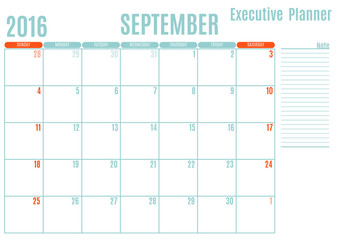 Executive Planning calendar new year on white background, September 2016, Week start Sunday, vector illustration
