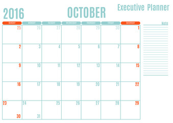 Executive Planning calendar new year on white background, October 2016, Week start Sunday, vector illustration