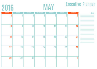 Executive Planning calendar new year on white background, May 2016, Week start Sunday, vector illustration
