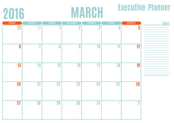 Executive Planning calendar new year on white background, March 2016, Week start Sunday, vector illustration