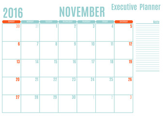 Executive Planning calendar new year on white background, November 2016, Week start Sunday, vector illustration