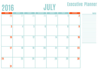 Executive Planning calendar new year on white background, July 2016, Week start Sunday, vector illustration