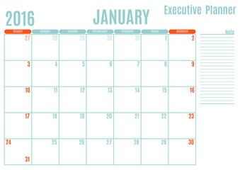 Executive Planning calendar new year on white background, January 2016, Week start Sunday, vector illustration