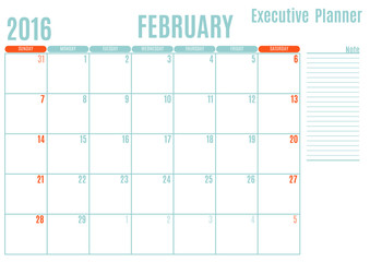 Executive Planning calendar new year on white background, February 2016, Week start Sunday, vector illustration