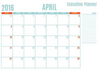 Executive Planning calendar new year on white background, April 2016, Week start Sunday, vector illustration