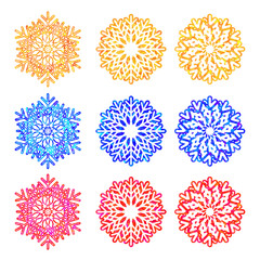 Colurfull snowflakes collection