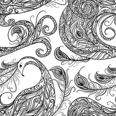 Seamless pattern with peacock and feathers. Vintage fantasy bird with ornament. Black and white hand drawn vector illustration.