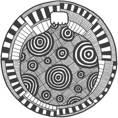 Vector Ethnic retro doodle round black and white pattern with a christmas ball in the center on a white background.