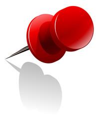 Metal thumb tack in red color