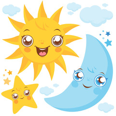 Vector illustration set of cute smiling cartoon sun, moon, stars and clouds.