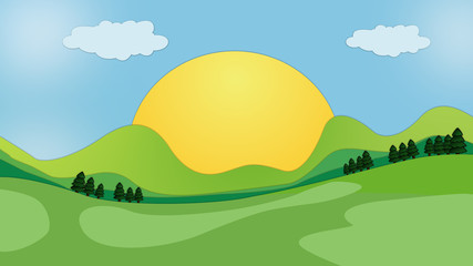 beautiful cartoon landscape of sunrise and greenery
