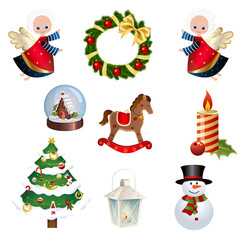 Collection of Different Christmas icons - Set of Christams clipart