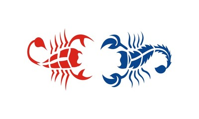 red and blue scorpions design
