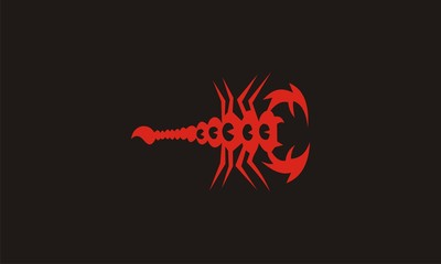 red scorpion with black background