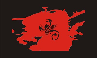 scorpion with red and black background design