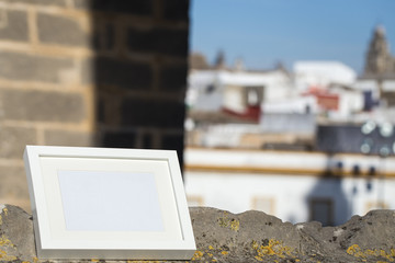 Photo frame with background scenery and streets